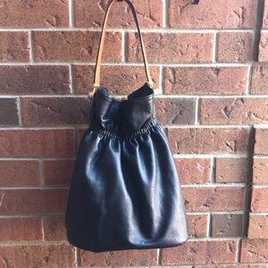 Zara Leather Bucket Bag Satchel Black